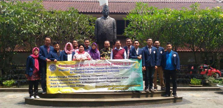 Mahasiswa Prodi Magister Ilmu Hukum Fakultas Hukum Unair Kunjungi Fakultas Hukum Universitas Indonesia