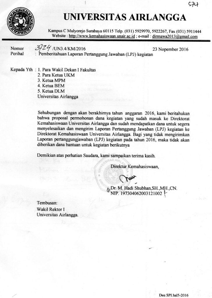 pemberitahuan laporan pertanggung jawaban lpj kegiatan fakultas hukum