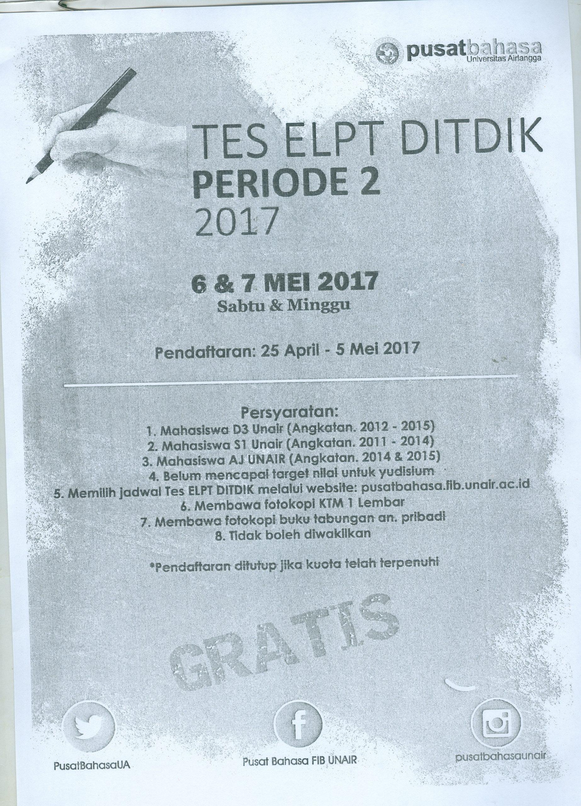 Tes Elpt Ditdik Periode 2 2017 Fakultas Magister Kenotariatan Fh Unair
