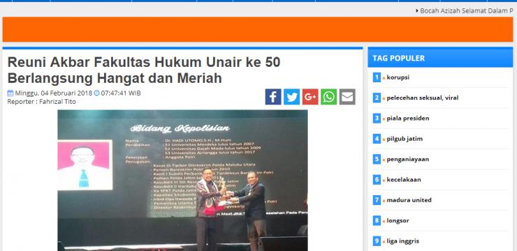 Reuni Akbar Fakultas Hukum Unair ke 50 Berlangsung Hangat dan Meriah