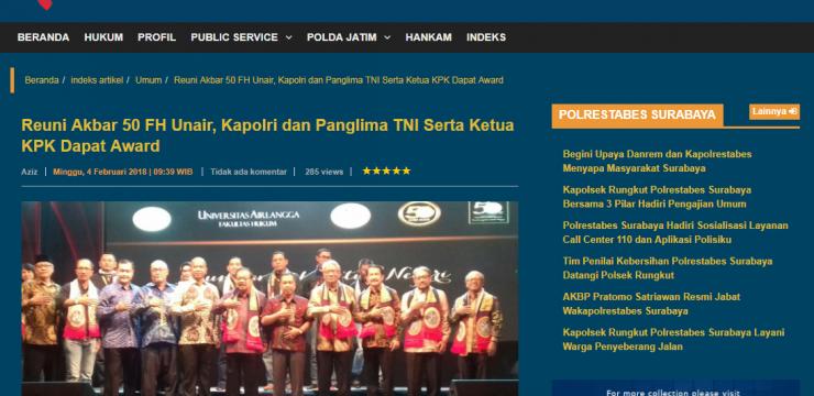 Reuni Akbar 50 FH Unair, Kapolri dan Panglima TNI Serta Ketua KPK Dapat Award