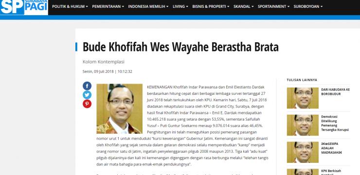 Bude Khofifah Wes Wayahe Berastha Brata