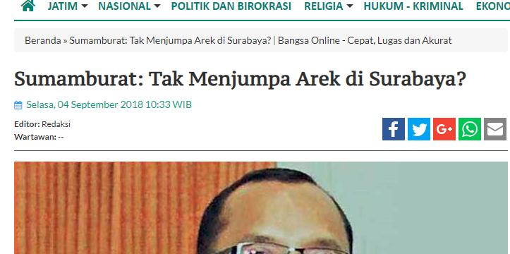 Sumamburat: Tak Menjumpa Arek di Surabaya?