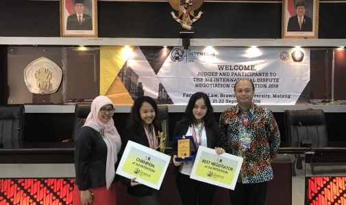 DELEGATION OF FACULTY OF LAW OF UNAIR BE A CHAMPION IN INTERNATIONAL DISPUTE NEGOTIATION COMPETITION (INTENTION)