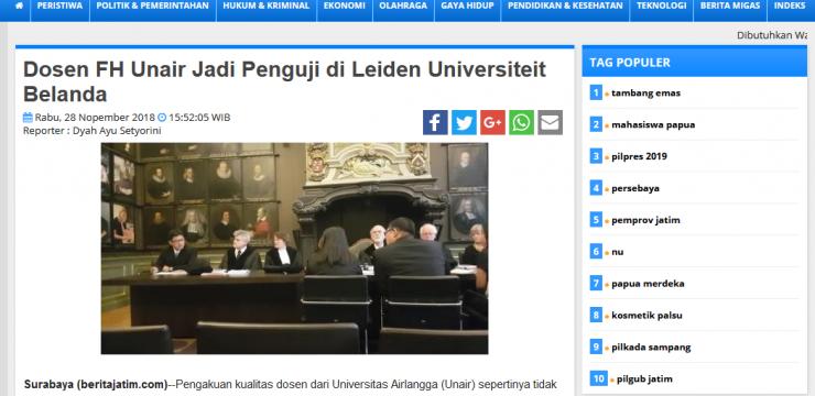 Dosen FH Unair Jadi Penguji di Leiden Universiteit Belanda