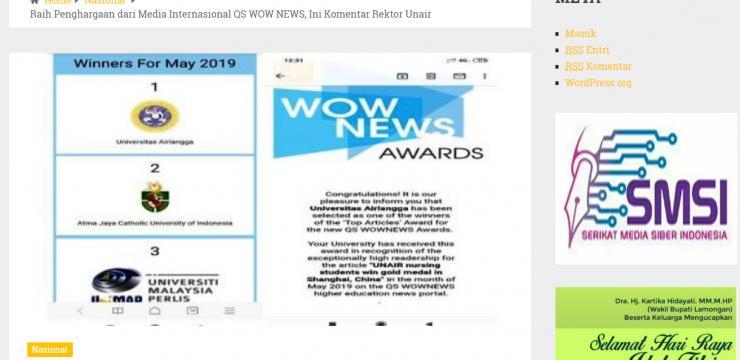 Raih Penghargaan dari Media Internasional QS WOW NEWS, Ini Komentar Rektor Unair