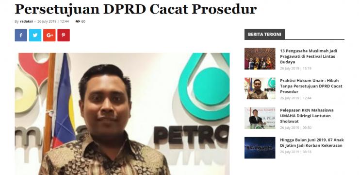 Praktisi Hukum Unair : Hibah Tanpa Persetujuan DPRD Cacat Prosedur