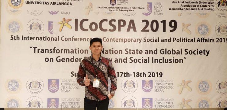 MAHASISWA FAKULTAS HUKUM UNAIR BAWAKAN GAGASAN  KEADILAN PROPORSIONAL DALAM 5th INTERNATIONAL CONFERENCE ON CONTEMPORARY SOCIAL AND POLITICAL AFFAIRS
