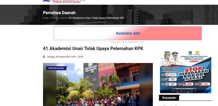 41 Akademisi Unair Tolak Upaya Pelemahan KPK