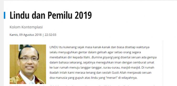 Lindu dan Pemilu 2019