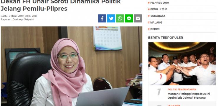 Dekan FH Unair Soroti Dinamika Politik Jelang Pemilu-Pilpres