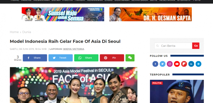 Model Indonesia Raih Gelar Face Of Asia Di Seoul