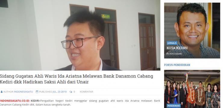 Sidang Gugatan Ahli Waris Ida Ariatna Melawan Bank Danamon Cabang Kediri dkk Hadirkan Saksi Ahli dari Unair
