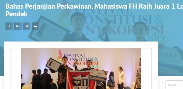 Bahas Perjanjian Perkawinan, Mahasiswa FH Raih Juara 1 Lomba Video Pendek