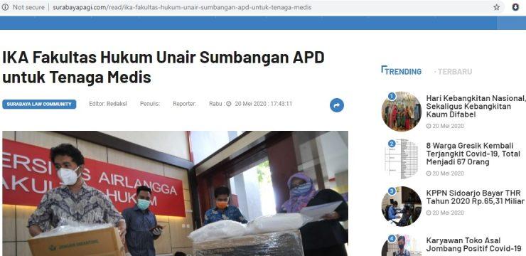 IKA Fakultas Hukum Unair Sumbangan APD untuk Tenaga Medis