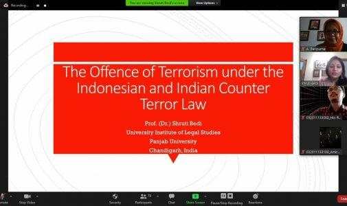 KULIAH TAMU HUKUM PIDANA: STUDI KOMPARASI HUKUM ANTI TERORISME ANTARA INDONESIA DAN INDIA
